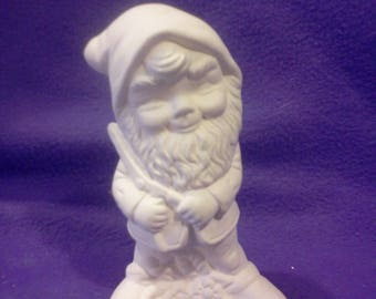 "FREE SHIPPING  Gnome with Clippers 5"" Ceramic Bisque, Ready To Paint"