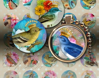 1 inch (25mm) size circle images CROWNED BIRDS Digital Collage Sheet Printable Download for pendants, magnets, bottle caps, bezel settings