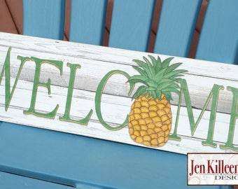 Pineapple Welcome Sign Wood Pineapple Decor / Pineapple art