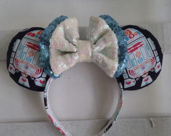 "Handmade Custom Star Wars Sugar Skull ""R2d2"" Mouse ears headband inspired by Disney"