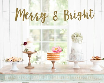 Merry and Bright Banner, Christmas Banner, Winter Banner, Let It Snow Cursive Banner, Glitter Christmas Banner, Holiday Banner, Christmas