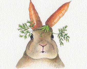 Rabbit card, surreal cute bunny - Design No 26