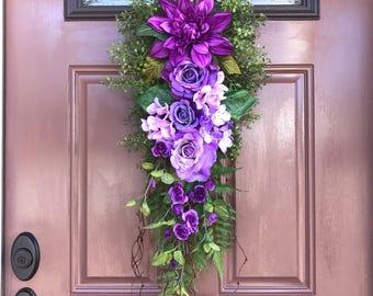 Spring Door Swag, Front Door Decor, Vertical Teardrop Swag, Purple Door Swag, Summer Teardrop Swag