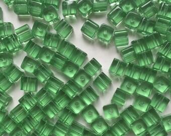 30 x 6mm light green glass cube beads