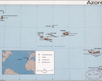 Poster, Many Sizes Available; Cia Map Of The Azores 1975