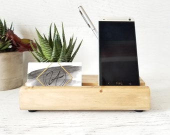 Phone Stand, Wood Phone Stand, Phone Dock, Wooden Phone Stand, Business Card Stand, Desk Accessories, Succulent Decor, Mens Gift Ideas