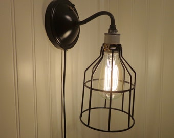 Industrial Wall LIGHTING SCONCE Plug-In with Edison Bulb - Lights Fixtures