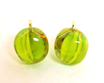 Vintage Chartreuse Neon Green Jelly Belly Clover Embedded Pat Pending Earrings 1960's Modern Art Deco Mid Century Contemporary   Retro