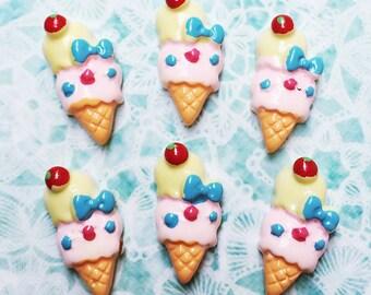 3 pcs.10x19mm.Miniature Cabochon Icecream,Miniature Icecream,Cabochon,Resin,Miniature Sweet,Mobile Accessories,Miniature Ice,DIY