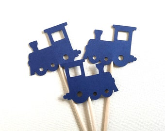 24 Train Cupcake Toppers, Navy Blue, Party Decor, Baby Showers, Birthdays, Double-Sided, Travel Theme, Transportation