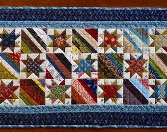 Quilted Table Runner, Sawtooth Star, Scrappy