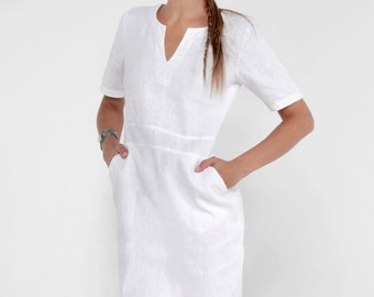 100% Linen V-Neck Dress with Pockets and 2/4 Sleeveless in White by Claudio Milano- Style 8344