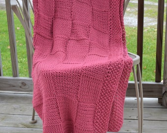 Hand knitted afghan/ Throw Blanket/ Bed Blanket (for full size bed), Rose Afghan, Red Blanket