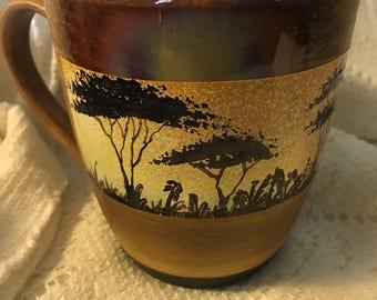 Hand painted mug - striated elephants - CM5-03