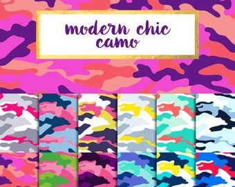 Buy 2 get 1 free with code SPRINGBREAK Modern Chic Camo Digital Paper Pack (Instant Download)