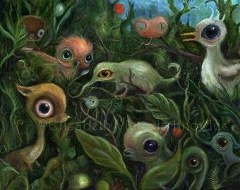 Surreal Art Print, Big Eye Art, Pop Surrealism, Jungle Wall Art, Nature Art, Children's Art,  Animal Print, Wibbley World