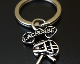 Lacrosse Keychain, Lacrosse Key Chain, Lacrosse Charm, Lacrosse Pendant, Lacrosse Team, Lacrosse Gifts, Lacrosse Dad, Lacrosse Coach Gift