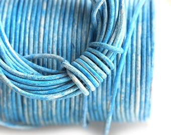 1.5mm Round Leather cord - Vintage Blue, Distressed, New Color - 10 feet, LC051