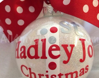 Personalized Baby's First Christmas Ornament Custom Glitter Glass Ball Bow Ribbon 2017