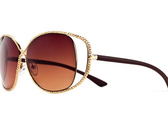 Blissful Gold Midas Oversized Aviator Sunglasses With Brown Shades And Golden Shadow Swarovski Crystals