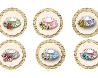 Vintage Tea cup tags, Printable Tea Cup party favors, cupcake Toppers, Instant download, circles, pretty tea cups, digital, collage sheet