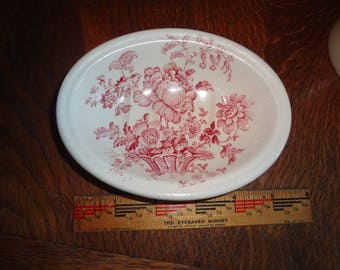 English ironstone peony transferware Charlotte Royal Crownford Staffordshire England soap dish