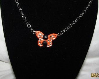 Orange Semicolon Butterfly Charm Necklace