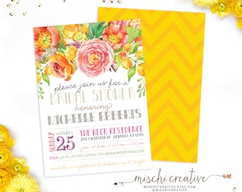 """Floral Bridal Shower Invitation - Sunny and Summery, Country Chic Flowers Bridal Shower Invite in Yellows, Pinks, Corals and Greens, 5"""" x 7"""""""