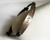 Cuivre coordonnées personnalisé personnalisé Bracelet, bracelet en cuir Latitude Longitude, estampillé Message, hommes, femmes, mariage, cadeau d'anniversaire
