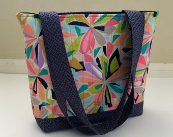 Colorful Tote Bag, Pastel Tote Bag, Fabric Tote Bag, Quilted Tote Bag, Grey Tote Bag, Shoulder Bag