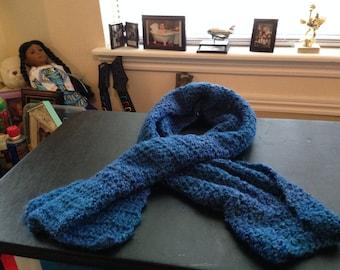 Pretty Hand Crocheted Handmade Handcrafted Homespun Yarn Adult Blue Scarf/Neckwear