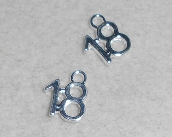 """Silver Number """"18""""  Charms"""