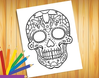 SUGAR SKULL 8 1/2 x 11 COLORING Page Instant Download Print File, Calavera, Day of the Dead
