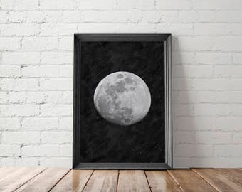 Moon Poster, La Lune Printable, Wall Art, Full Moon Printable, Luna, Giant Moon Poster