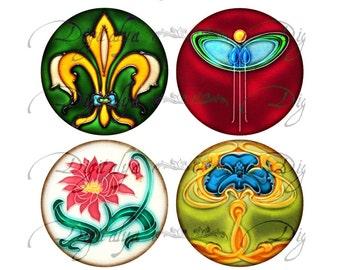 FLORAL DECO (3) Circles 63mm for Pocket Mirror - Art Deco and Art Nouveau Floral Accents - Digital Collage Sheet - Instant Download