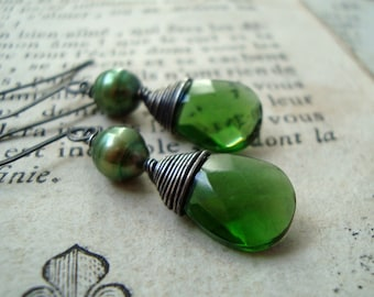 Green Crystal and Pearl Earrings Sterling Wire Wrapped Emerald Green May Birthstone Holiday Jewelry Bridesmaid Jewelry Gifts For Her