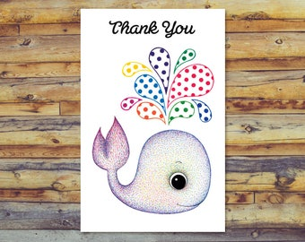 Whale Thank You Card, Printable Thank You Card, Digital Download, Instant Download, Polka Dot Cute Whale Card, Printable Blank Greeting Card