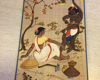 Vintage picture of Indian couple possibly silk screened or painted
