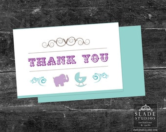 Baby Shower Party Thank you Cards Printable. Available for download TODAY. Purple & Aqua.