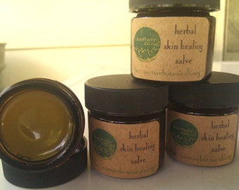 Vegan Herbal Salve, skin healing salve, herbal salve, organic herbs, 1 or 2 oz