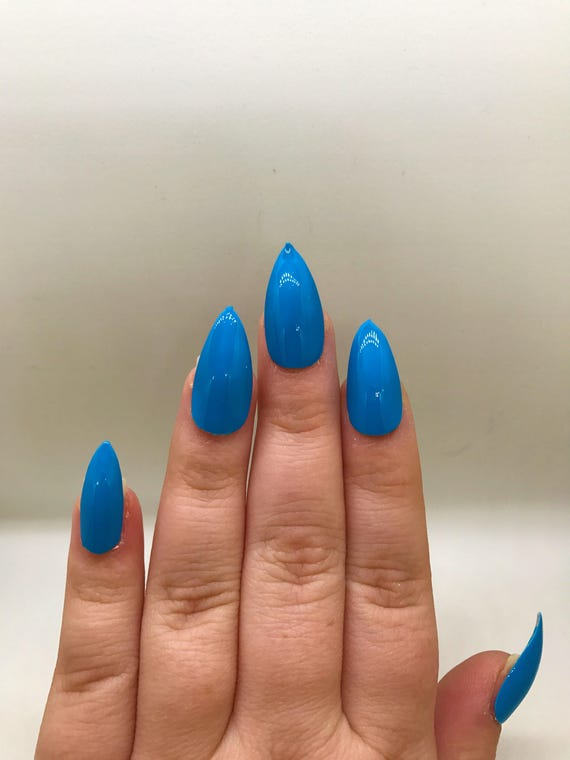 Neon Blue Fake Nails Press On Glue On Nails Different