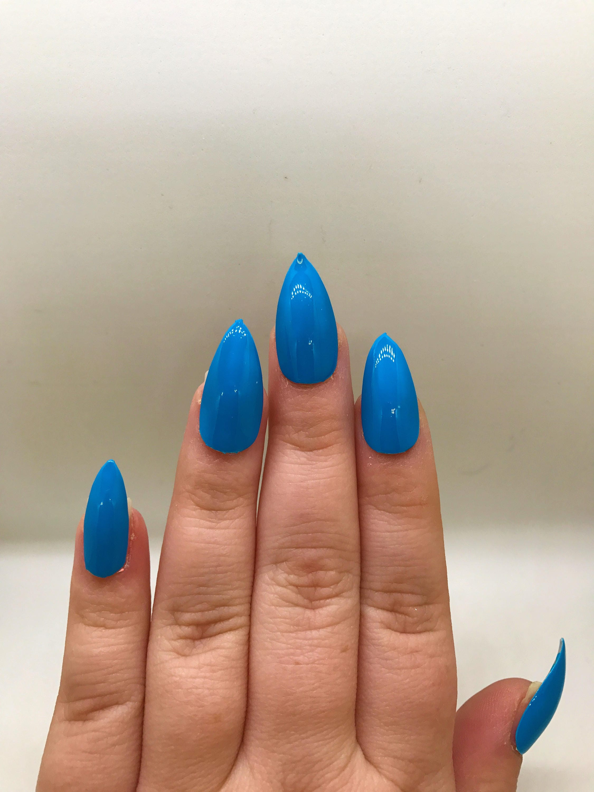 Neon Blue Fake Nails | Press On | Glue On Nails | Different Shapes ...