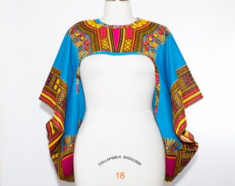 Aqua Dashiki African Print Shrug - One Size