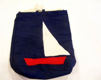 vintage Sailboat drawstring ditty bag, lunch bag