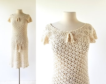 1930s Crochet Dress | Two Piece Dress | 30s Skirt and Top | S M