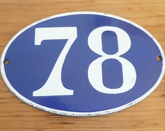 Enamel house number, French vintage, blue and white oval, various house numbers
