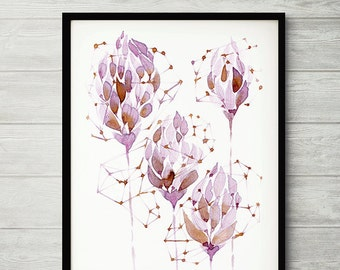WINE painting, coffee art, abstract painting, flower painting, pink flower painting, abstract flower painting, purple flower print