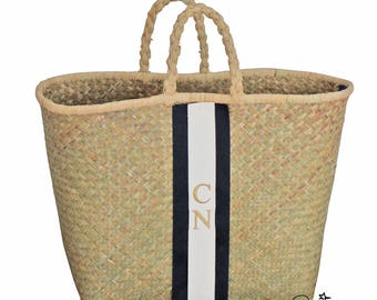 Monogramm Shopper Korb *** gestickte Initialen *** personalisierte Tasche