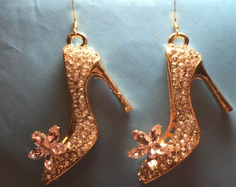 Crystal and Gold High Heel Stiletto Shoe with Pink Flower Earrings  AG63