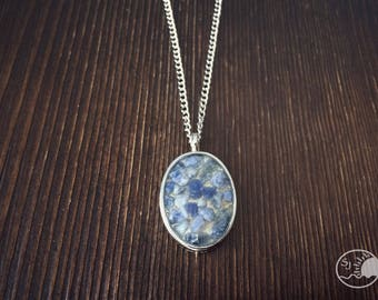 Charity Puerto Rico Sand and Crushed Sodalite Boho Necklace, soulscape jewelry, Stainless Charity Necklace, Bohemian Sand Jewelry